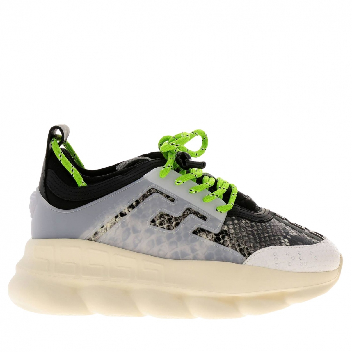 Versace Chain Reaction Sneakers in  Grau Leder