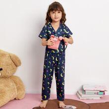 Toddler Girls Cartoon Galaxy Print PJ Set