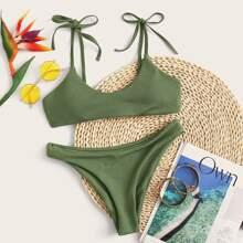 Set de bikini de canale de hombro con cordon