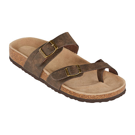 Arizona Fairhaven Womens Adjustable Strap Footbed Sandals, 6 1/2 Medium, Brown