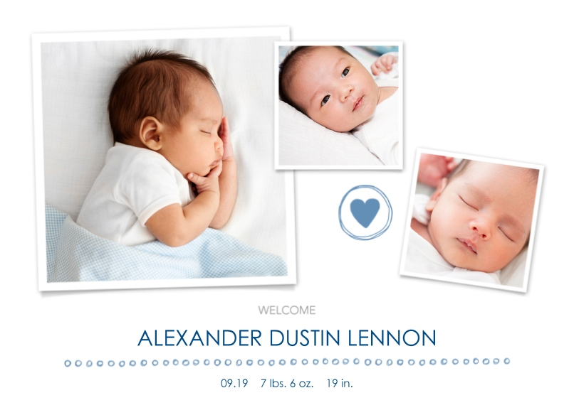 Newborn 5x7 Cards, Premium Cardstock 120lb with Scalloped Corners, Card & Stationery -Welcome, Boy