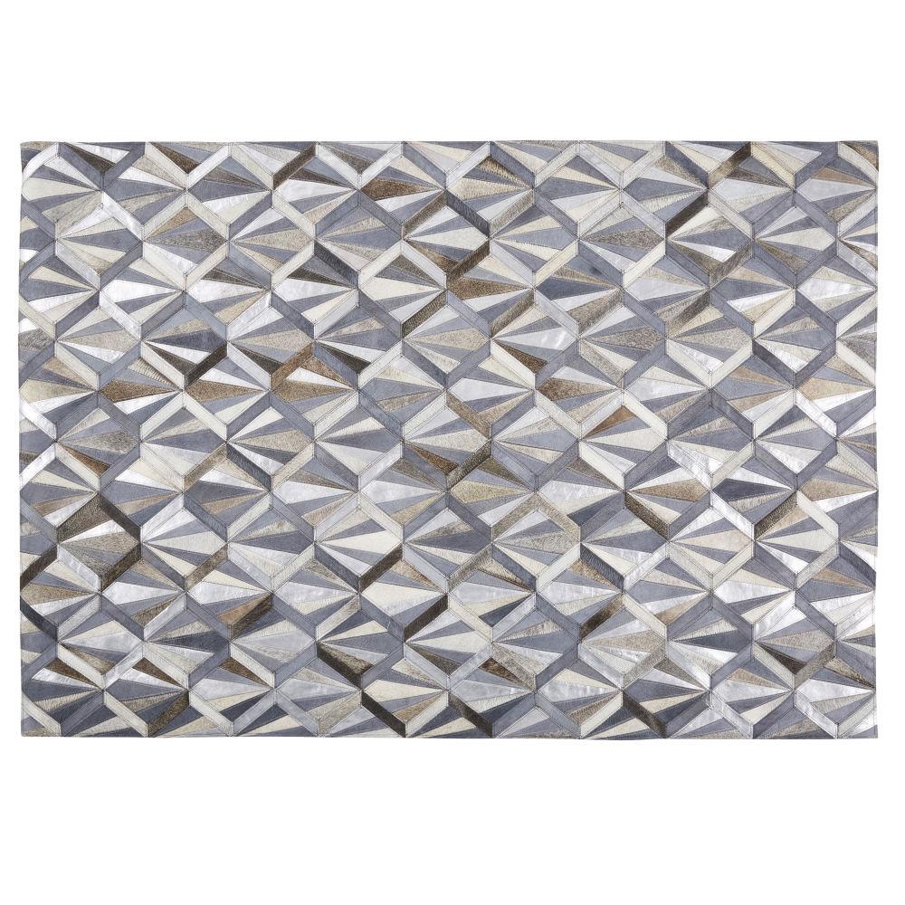 Vacheleder-Teppich in Anthrazitgrau mit Grafikmuster 140x200