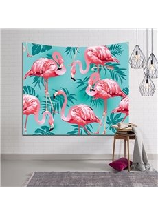 Flamingos above Tropical Palm Leaves Decorative Hanging Wall Tapestry