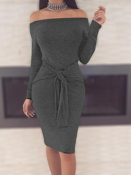 Yoins Grey Off the Shoulder Tie Waist Mini Dresses