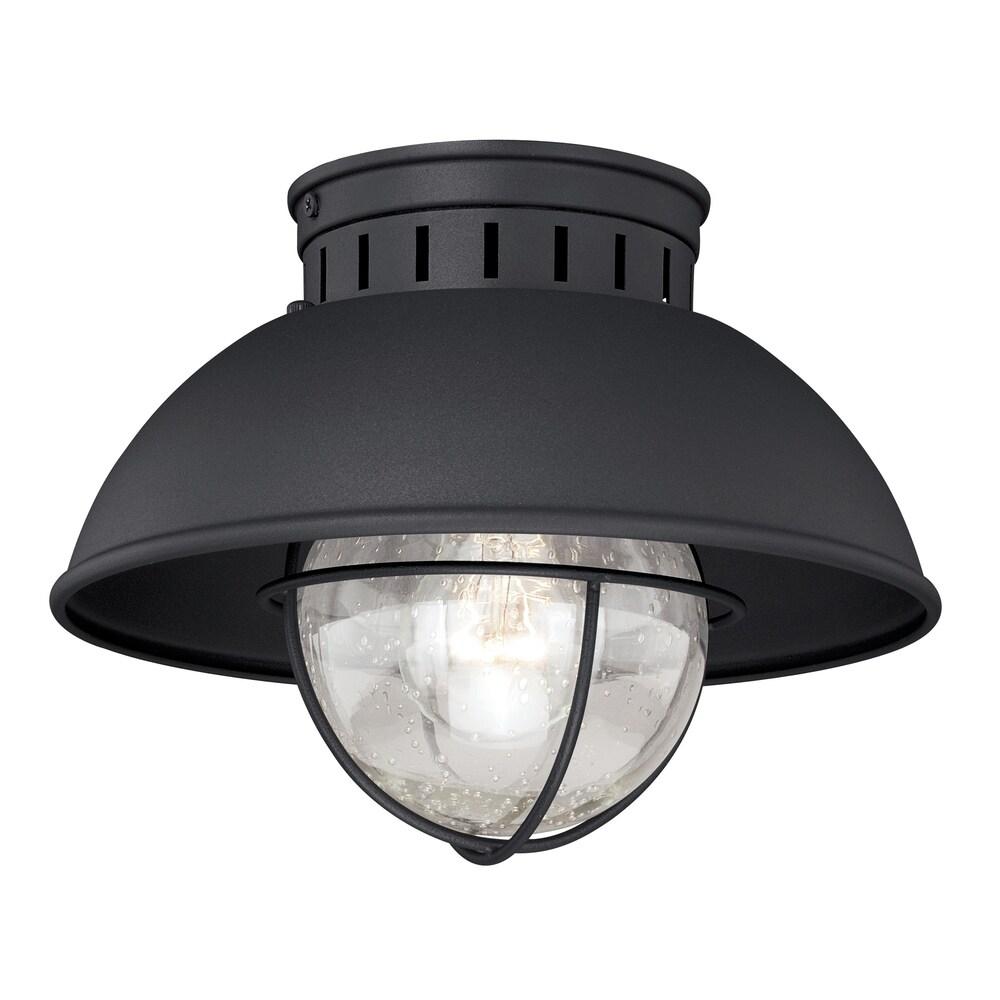 Harwich Black Coastal Barn Dome Outdoor Flush Mount Ceiling Light Clear Glass - 10-in W x 7.75-in H x 10-in D (10-in W x 7.75-in H x 10-in D -