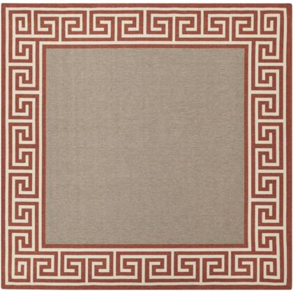 Alfresco ALF9628-89SQ 89 Square 100% Polypropylene Rug with No Shedding  Easy Care  Low Pile  Loop Texture  and Machine Made in Egypt in Beige