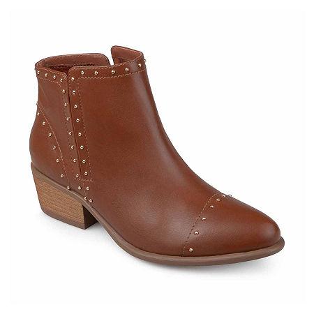Journee Collection Womens Gypsy Booties Block Heel, 7 Medium, Brown