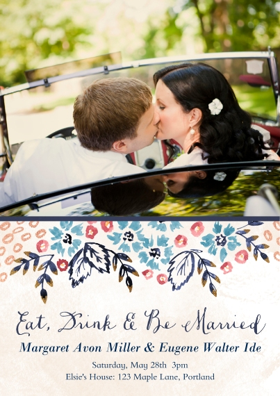 Just Married 5x7 Cards, Premium Cardstock 120lb with Elegant Corners, Card & Stationery -Nosegay