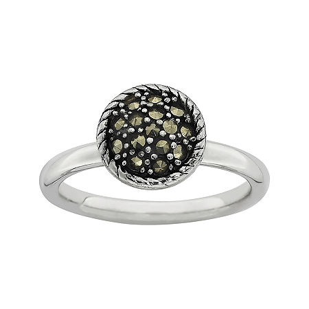 Personally Stackable Marcasite Sterling Silver Stackable Ring, 9 , No Color Family