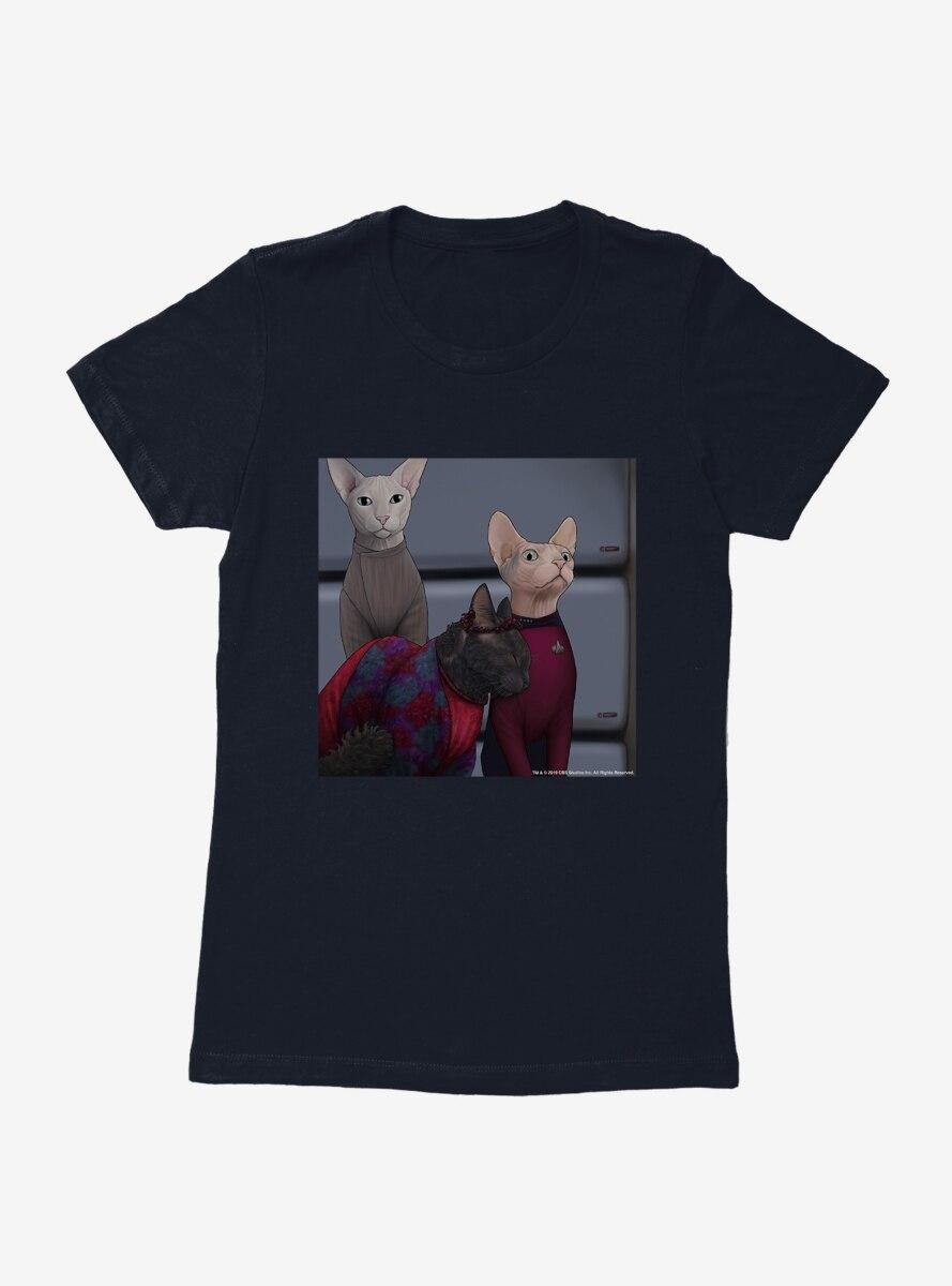 Star Trek The Next Generation Cats Team Gathering Womens T-Shirt