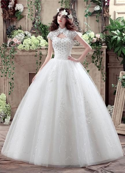 Milanoo Princess Wedding Dress Lace High Collar Maxi Bridal Gown Keyhole Rhinestone Beading Sequins Floor Length Ball Gown White Bridal Dress