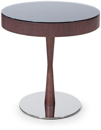 VGWCM512T Modrest Jackson 21 Round End Table with Clear Swivel Glass Top  Indented Frame Storage Area and Stainless Steel Base in Brown Oak