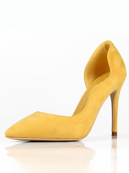 Milanoo Tacones De Mujer Punta estrecha Tacon De Aguja Elegantes Bombas Amarillo