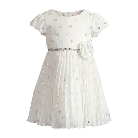 Youngland Baby Girls Short Sleeve Empire Waist Dress, 24 Months , White