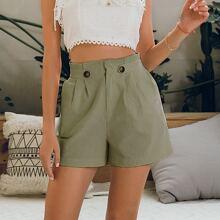 Shorts mit Papiertasche Taille, Knopfen und Riemen Detail