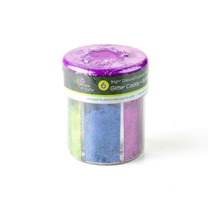 6 Bright Colors Glitter Caddy Dispenser, 1 Randomized Style Per Pack - Time 4 Crafts