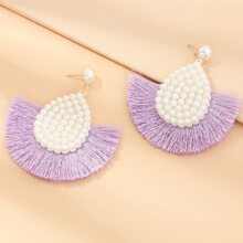 Faux Pear Handmade Tassel Drop Earrings