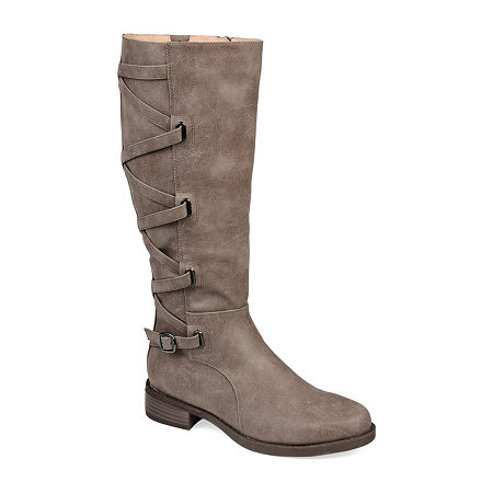 Journee Collection Womens Carly Riding Boots Stacked Heel, 9 Medium, Beige