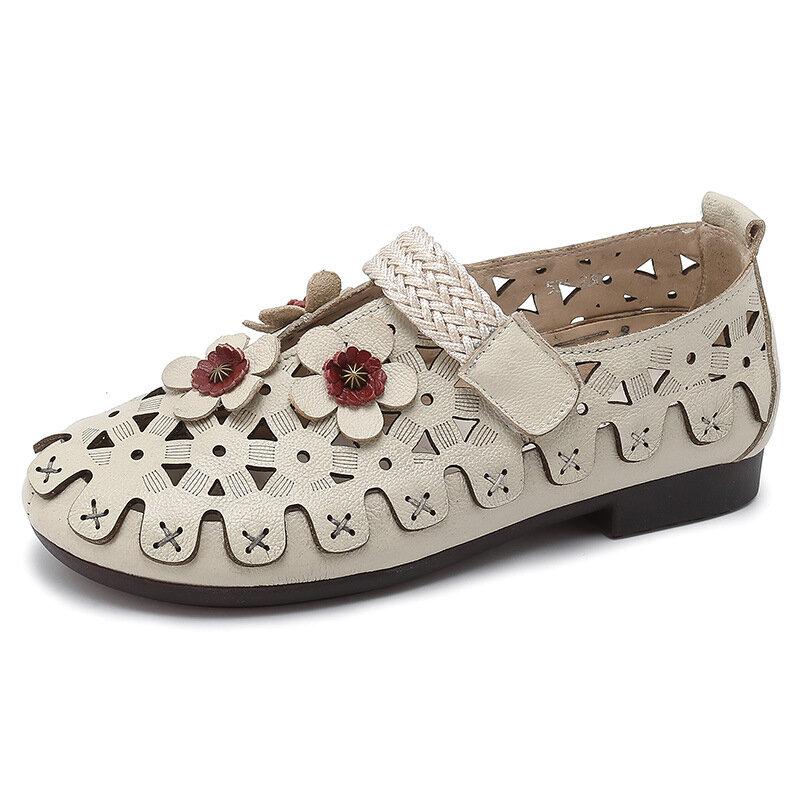 Flower Adjustable Hook Loop Casual Hollow Retro Flat Shoes