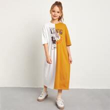T-Shirt Kleid mit Tiger, Buchstaben Grafik und Farbblock