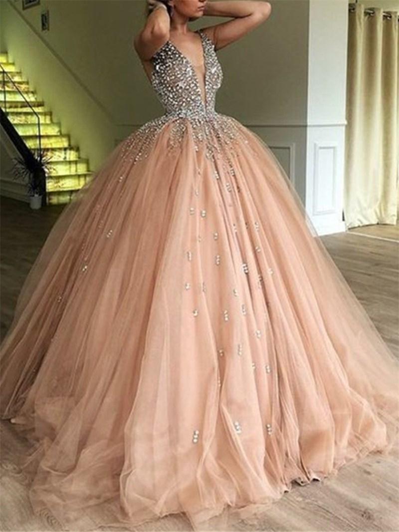 Ericdress Floor-Length Ball Gown V-Neck Sleeveless Evening Dress