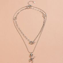 Skull Charm Layered Necklace