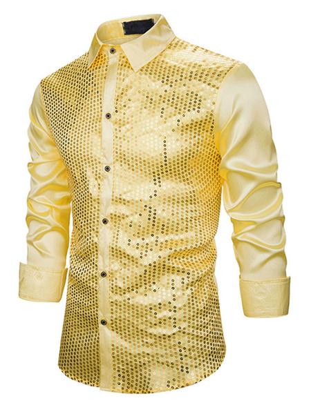 Milanoo Camisas de vestir Camisas para hombres Camisa de vestir para hombres Cuello informal Casual Manga larga Ropa de calle Rubio rojo