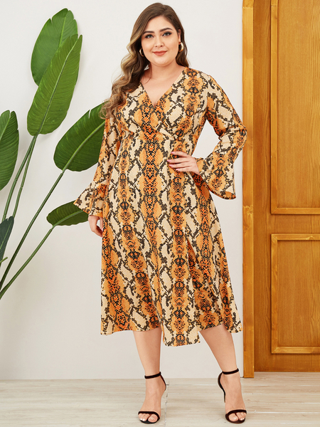 YOINS Plus Size Orange Wrap Design Animal V-neck Dress
