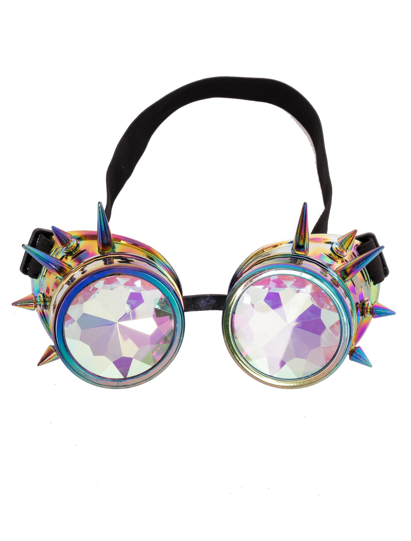 Kostuemzubehor Brille Steampunk mit bunten Glaesern und Nieten Farbe: multicolor bzw. bunt