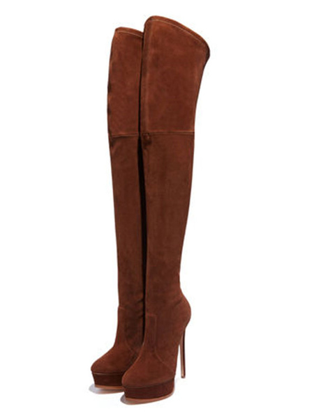 Milanoo Over The Knee Boots Micro Suede Upper Camel Round Toe High Heel Thigh High Boots