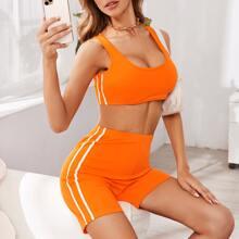 Neon Orange Side Striped Tank Top & Biker Shorts Set
