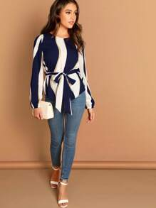 Self Belted Striped Top
