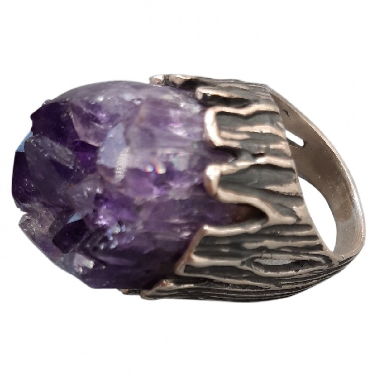 Non Signé / Unsigned Améthyste Silver Metal ring for Women \N