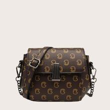 Graphic Pattern Chain Crossbody Bag