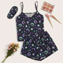Galaxy Print Cami PJ Set With Eye Cover