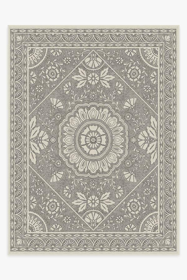 Washable Rug Cover & Pad | Almana Black & White Rug | Stain-Resistant | Ruggable | 9'x12'