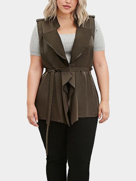 Yoins Plus Size Drape-Front Belted Vest
