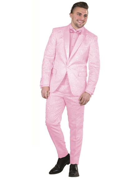Mens Raspberry Single Breasted One Button Suit