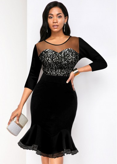 Christmas Rosewe Holiday Dress Round Neck Sequin Detail Mesh Panel Mermaid Dress - S