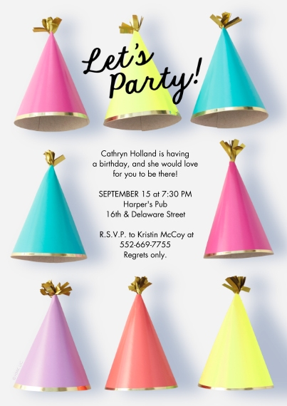Kids Birthday Party 5x7 Cards, Premium Cardstock 120lb with Elegant Corners, Card & Stationery -Party Hats Invitation by Hallmark