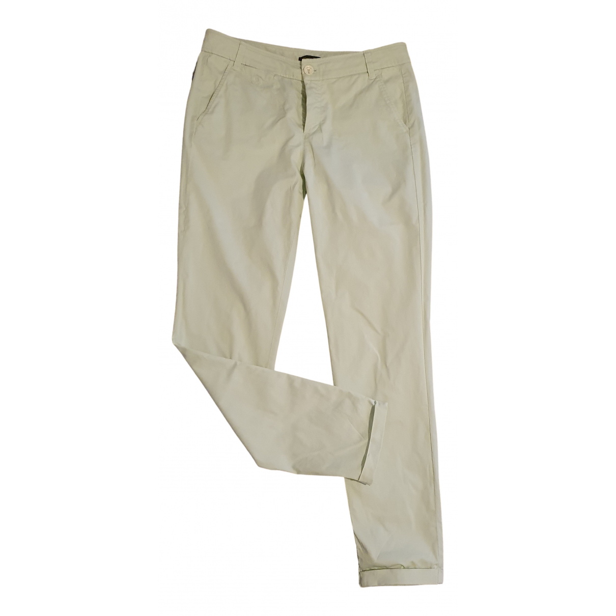 Massimo Dutti N Green Cotton Trousers for Women 36 FR