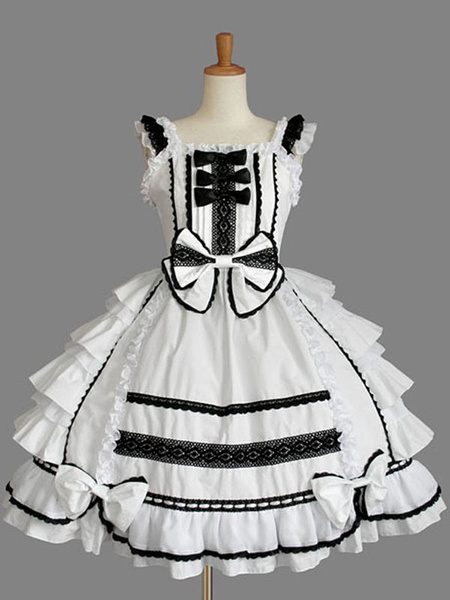 Milanoo Classic Lolita JSK Dress Ruffles White Lolita Jumper Skirts