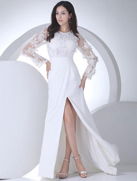 Milanoo Vestido de novia escote redondo pliegues