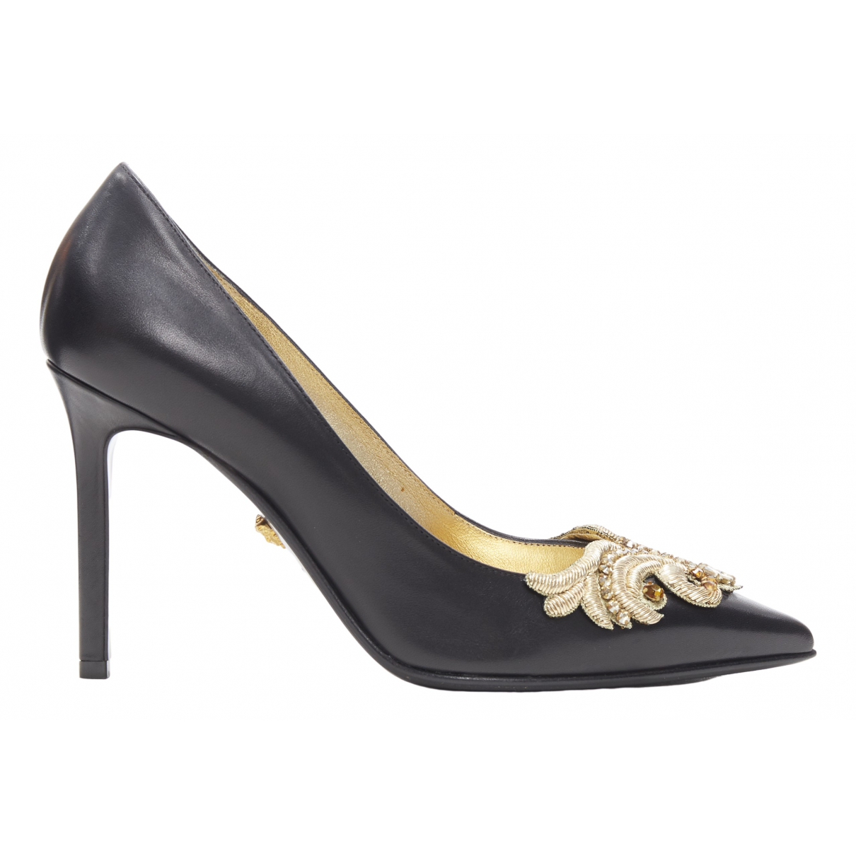 Versace \N Black Leather Heels for Women 37 EU