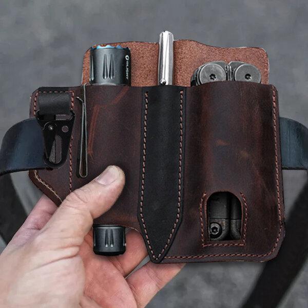 Men EDC Genuine Leather Retro Flashlight Multitool Solid Waist Belt Shealth
