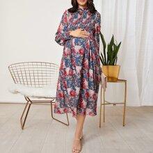 Umstandsmode Kleid mit Rueschen Detail und Blumen Muster