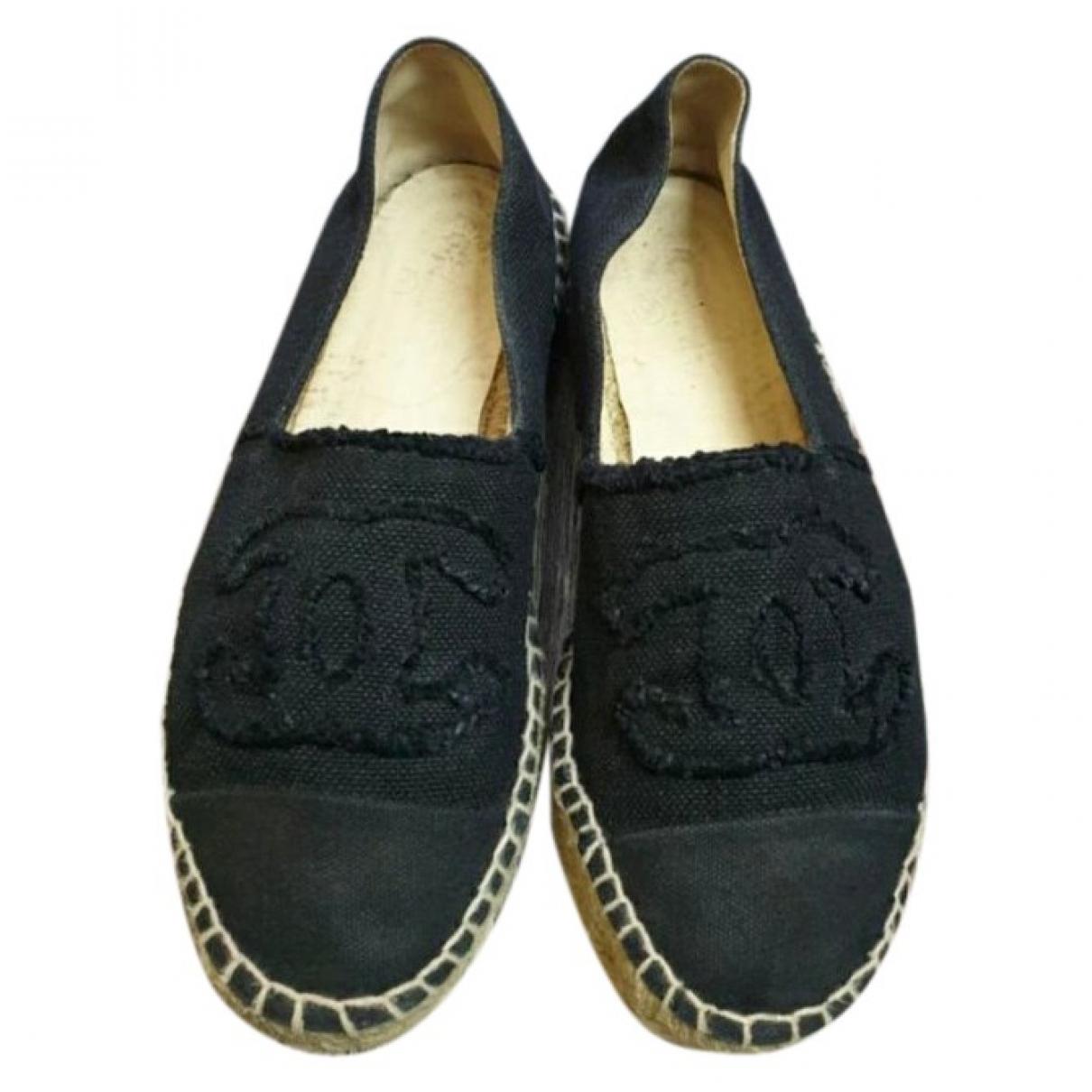 Chanel - Espadrilles   pour femme en toile - noir