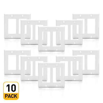 2-Gang Plastic Decora Wall Plate, White - PrimeCables® - 10/Pack