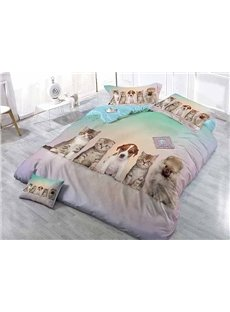 Couchant Cats and Dogs Wear-resistant Breathable High Quality 60s Cotton 4-Piece 3D Bedding Sets