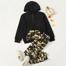 Conjunto de niños capucha con cremallera con bolsillo con estampado de camuflaje con pantalones